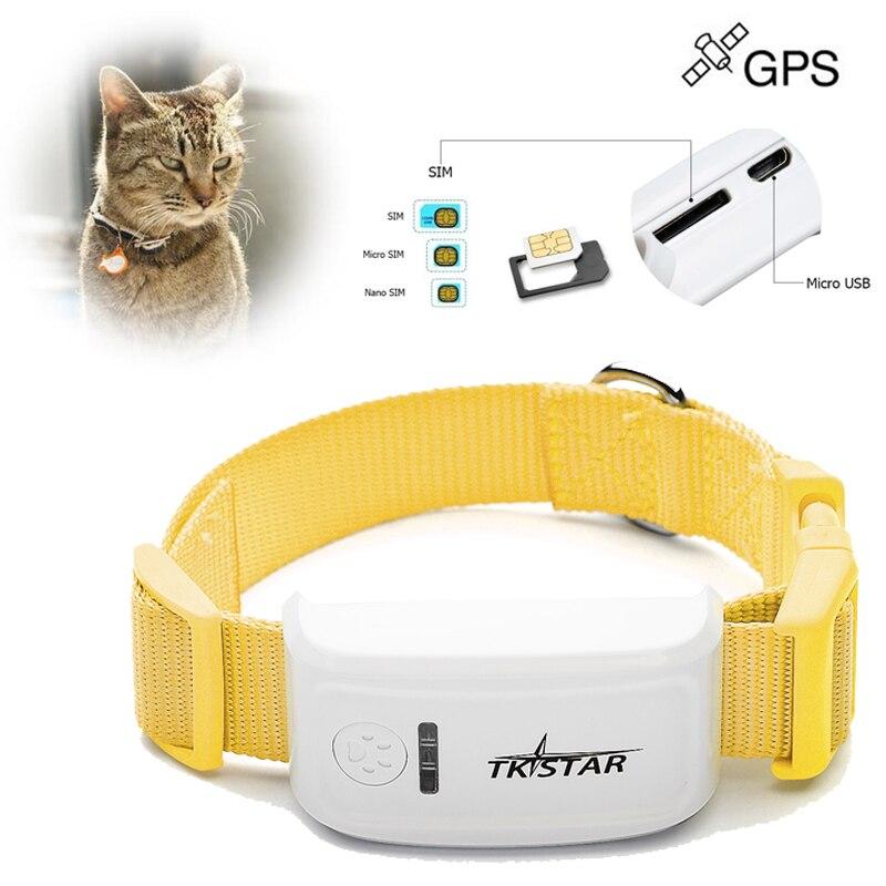 2015 el más nuevo TK estrella tk909 Mini GPS Tracker puede insertar Collar para mascotas gato-vaca perro Monitor de seguimiento (No caja de venta al por menor)