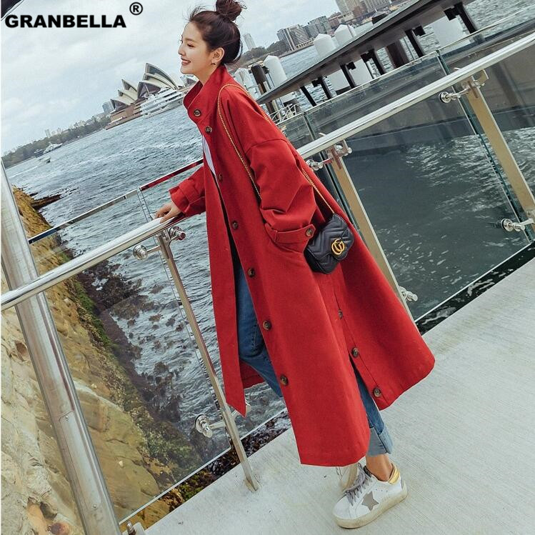Fashion Autumn Women Khaki Red Side Split Long Windbreak Single Breasted Streetwear Loose Chic   Trench   Coat Plus Size