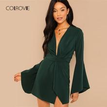 COLROVIE verde sólido profundo cuello en V Sexy vestido de mujer 2018 Otoño  de manga larga 5c67fce2e5bf