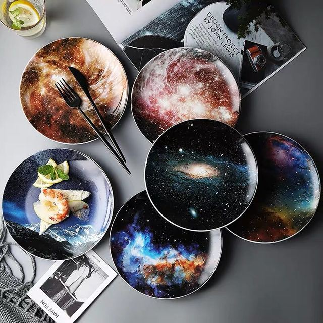 Starry Universe 8 inch Round Ceramic Plates 6 styles