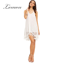Lemon New Fashion Solid White Lace Camis Dress Backless Cold Shoulder Tassel Mini Dress Sexy High Low Sheer A-line Dress Vestido