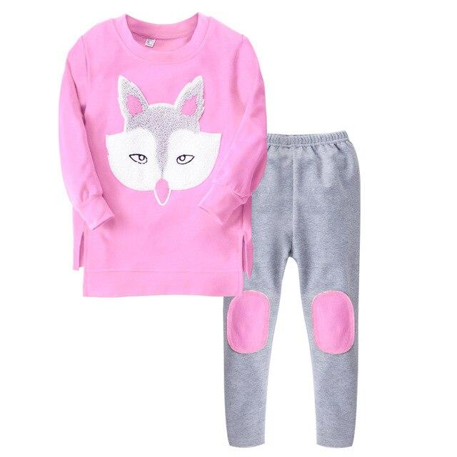 Baby girls kid suit set full children Cartoon Fox shirt+pants 2 pcs set suit clothes sets kids clothing set 2017 New Spring