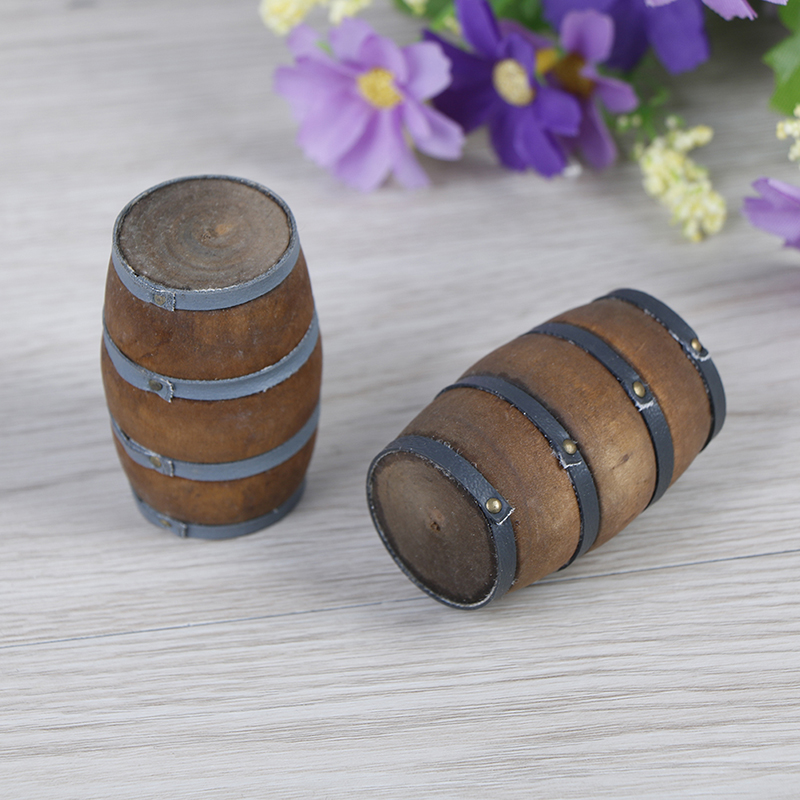 Mini Wooden Red Wine Barrel Miniature Beer Barrel Beer Cask Beer Keg For Dolls House Decoration Accessories 1:12 Scale Dollhouse