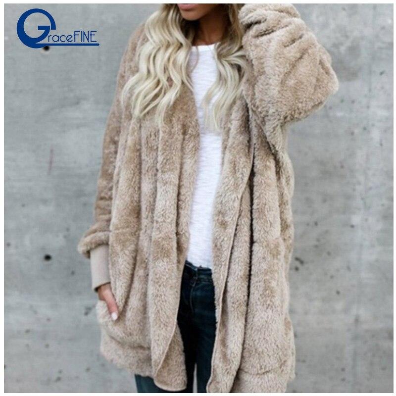 Oversize Winter warm Faux Fur Coat Women's Jacket women Lamb Wool Coat Pink Overcoat Long Sleeve Hooded Outwear hat Cardigan