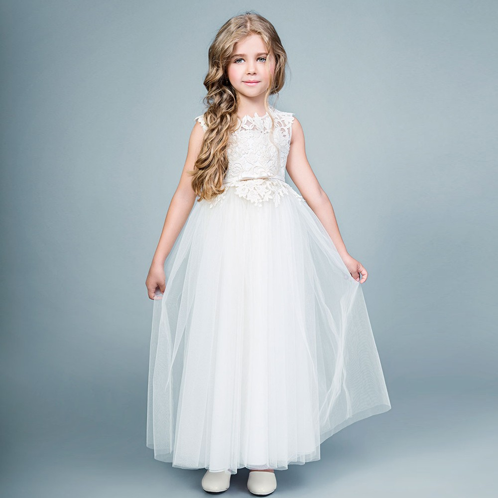 Lace Bodice Satin Belt Girl A-line Dress Sleeveless Long Voile Tiered Mother Daughter Dresses Tulle Flower Girl Dresses For Girl цены
