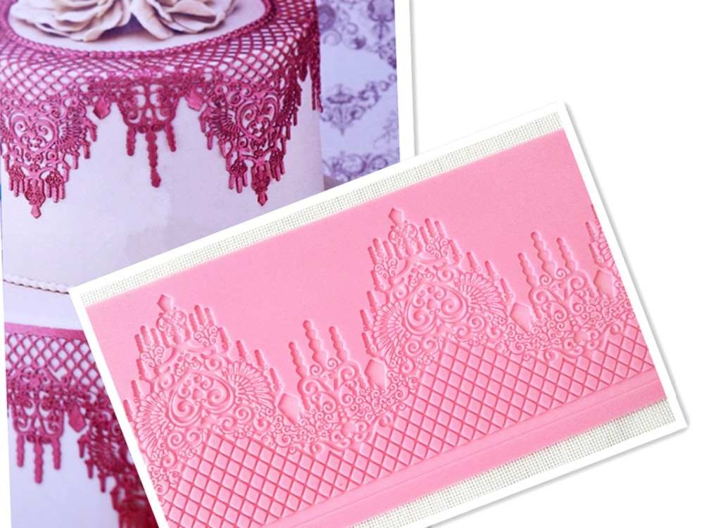 MX064 Ευρωπαϊκό στυλ κρεμαστό κόσμημα Crown Crown Retro Lace Μούχλα σιλικόνης ζαχαροπλαστικής Lace Pad Cake Brim Διακόσμηση Μούχλα Κουζίνας DIY Εργαλείο