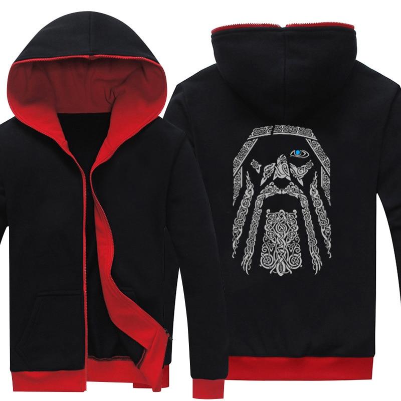 Sweat à capuche homme printemps Antumn Vikings fermeture éclair imprimée manteau à capuche polaire vestes à capuche vêtements unisexe pour les hauts adolescents