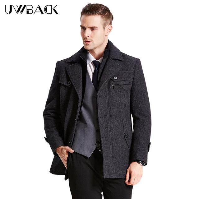 Uwback 2017 nova marca de inverno homens longo casaco plus size 4XL Casaco de Lã Longo Casaco Quente Homme Forro Grosso 4 Cores CAA147