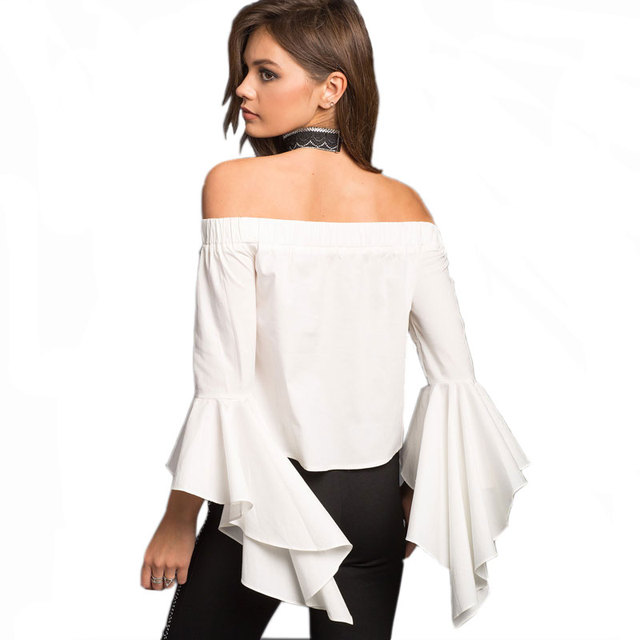 86dc2d2ee8a8 Casual Off the shoulder sleeves Top Blouse Women Bell Sleeve Poplin Top  White Irregular Ruffles flare