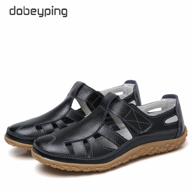 dobeyping Hollow Woman Shoes Genuine Leather Women Flats Summer Women's Loafers Breathable Beach Female Shoe Large Size 35-42(China)