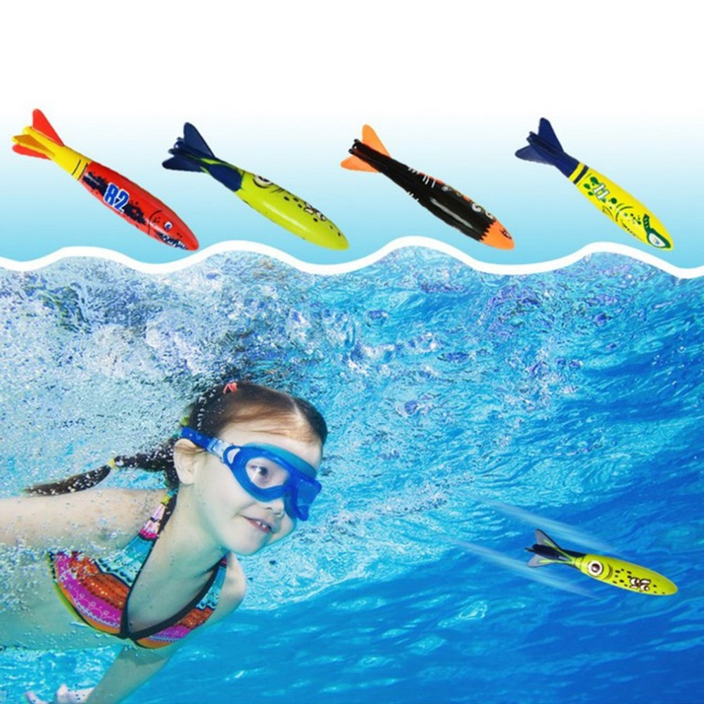4Pcs/Set Diving Torpedo Underwater Swimming Pool Playing Toy Outdoor Funny Sport Swimming Training Tool Toys For Baby Children