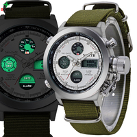 Military Men Sport Watches Quartz LED Digital Analog Wristwatch 2017 Multifunction 30M Waterproof Nylon Outdoor Sport