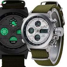 Military Men Sport Watches Quartz LED Digital Analog Wristwatch 2017 Multifunction 30M Waterproof Nylon Outdoor Sport Men Watch