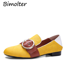 Bimolter New Women Green Yellow Shoes Horse Hair+Cow Leather Flats 1.8cm Heel Round Toe Loafer Casual Eay-Walking Footwear FC022 все цены