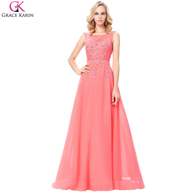 6162bb7e80ba3 Grace Karin Long Elegant Prom Dresses Chiffon Applique Beaded Sleeveless Formal  Gowns Special Occasion Dresses For
