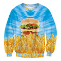 New Fahsion Women/men 3D Print Hamburger and French Fries Sweatshirts Long Sleeve Unisex Funny Pullovers Casual Streetwear Tops