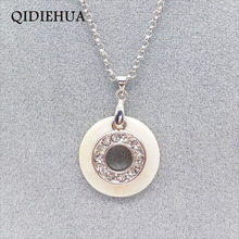 2019 round hollow black and white Crystal pendant necklace multi double layers natural shell lover gift silver jewelry