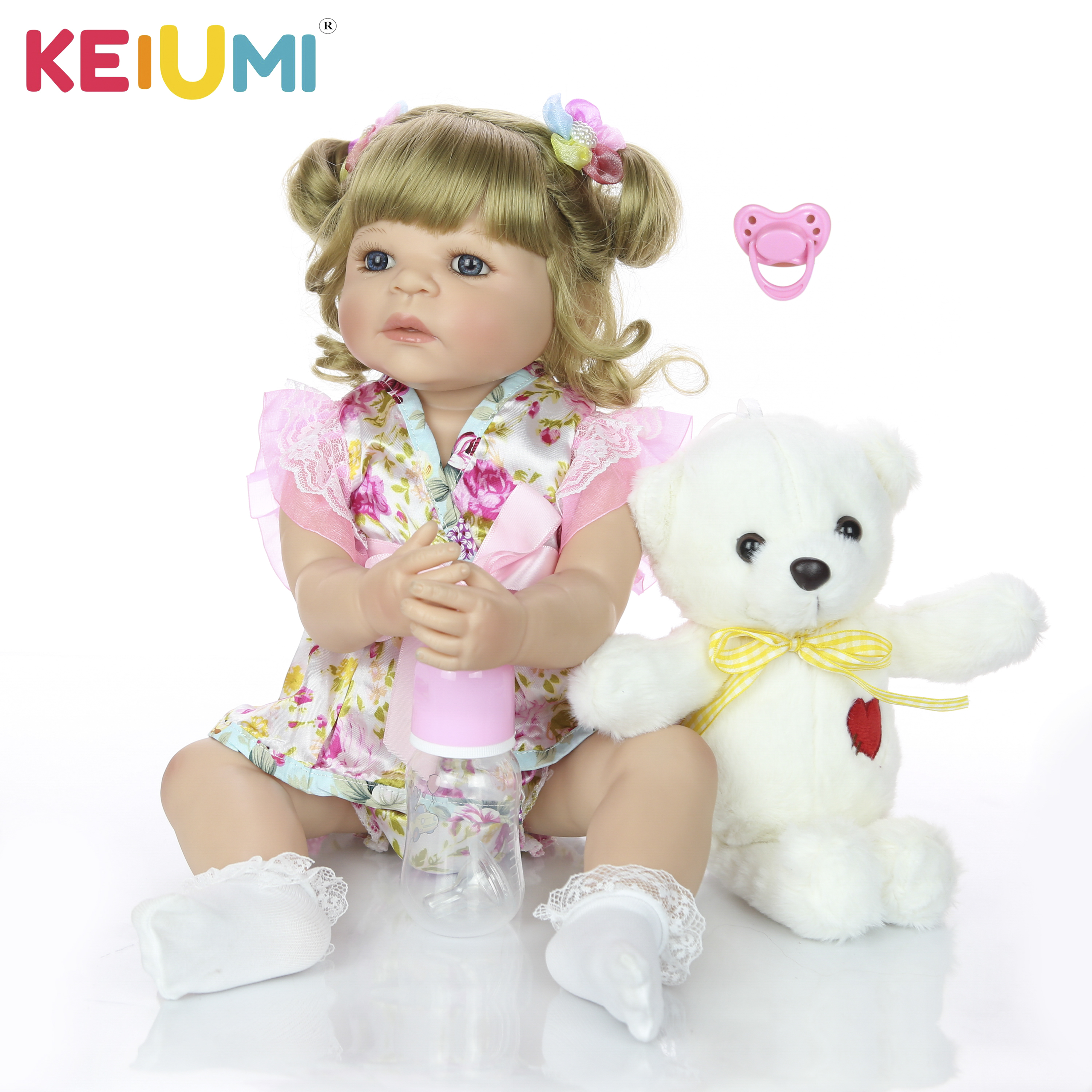 KEIUMI 22 Inch Silicone Full Body Reborn Doll Lifelike Fantacy Babies Doll Toy With Bear Plush Childrens Day Gift Bedtime PlayKEIUMI 22 Inch Silicone Full Body Reborn Doll Lifelike Fantacy Babies Doll Toy With Bear Plush Childrens Day Gift Bedtime Play
