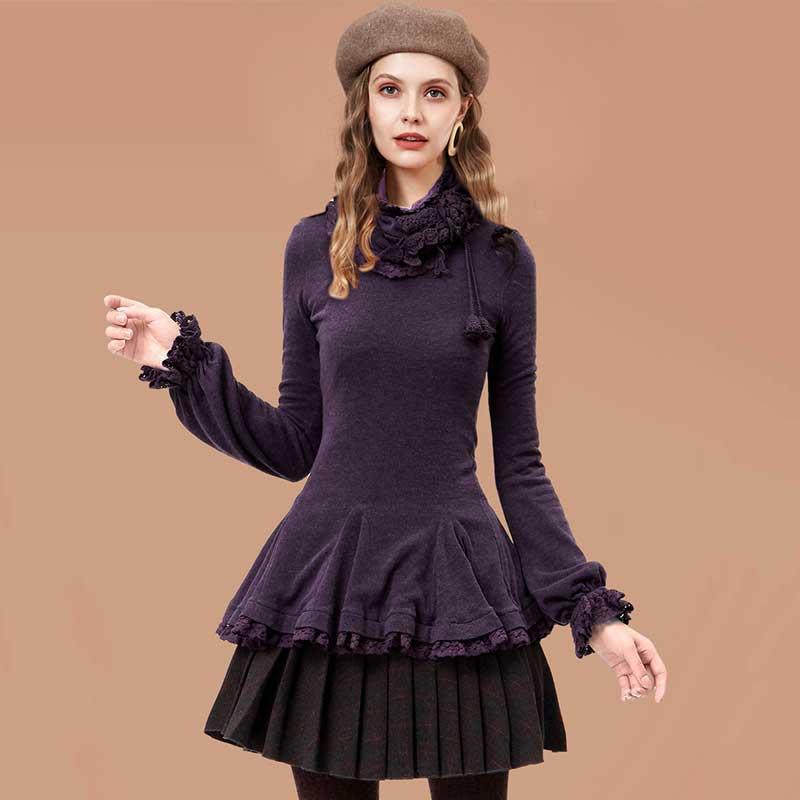 ARTKA Women's Autumn Vintage Slim Basic T-Shirt Removable Scarf Long-Sleeve Lace Ruffled Hem Casual T-shit ZA10032D