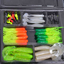 35pcs Soft Carp Fishing Lures Artificial Bait Set Worm Lure Pesca + 10 Lead Head Jig Hooks Simulation Suite Soft Fishing Baits