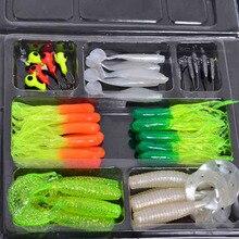 35pcs Soft Worm Lure Carp Fishing Lure Artificial Bait Set+10 Lead Head Jig Hooks Simulation Suite Soft Fishing Baits Pesca Set