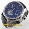Parnis new 43mm black dial power reserve black strap Automatic men's watch