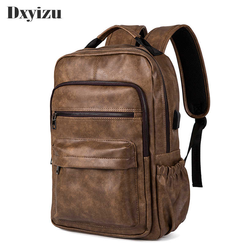 Preppy Style Leather School Bags Backpack Bag For College Simple Design Laptop 14 Inch Men Casual Daypacks mochila male New