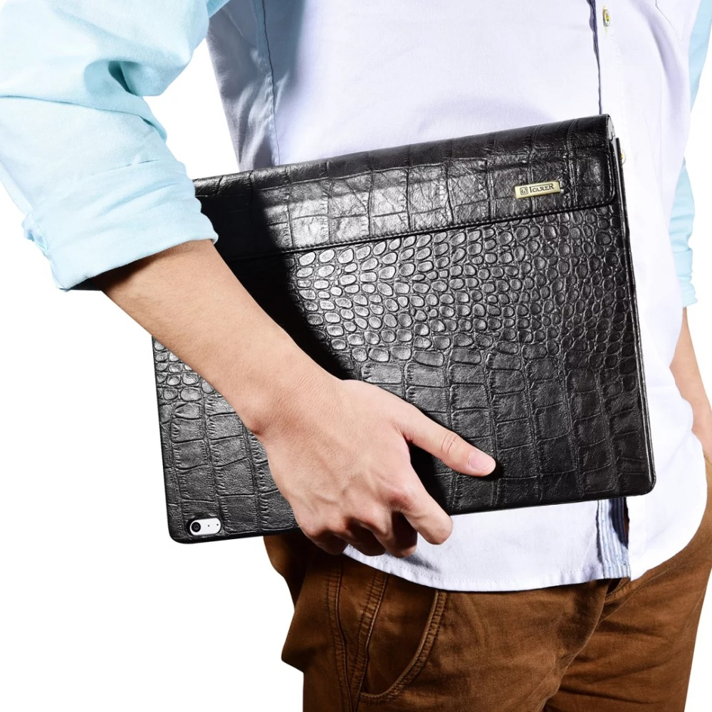 Icarer Business Leather Case for Surface Book High Quality Crocodile Pattern Genuine Leather Cover For Surface Book Flip Case