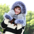 Winter Warm Hat Scarf Gloves Sets Female Warm Fur Scarf Glove Set Fashion Women Faux Fur Hat Scarf Decor