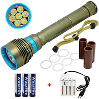 15000 Lumen LED Diving Flashlight 7 x XML L2 Underwater Torch Spearfishing Lamp Scuba Flashlights 18650 Flash Light Dive Torch