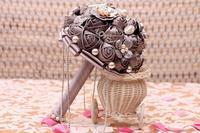 Dunkelgrau Seide Rosen Blumen Perlen mit Kristallen Kette Blumenstrauß Für Hochzeit Braut Party Urlaub Veranstaltungsort Dekoration Color-14