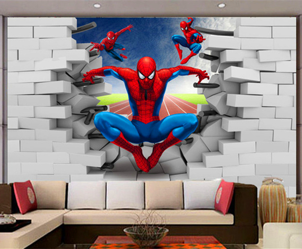 Us 1425 Large Scale Murals 3d Spider Man Cartoon Bedroom Television Background Wallpaper Child Non Woven Cloth 3d Mural Wallpaper In Wallpapers