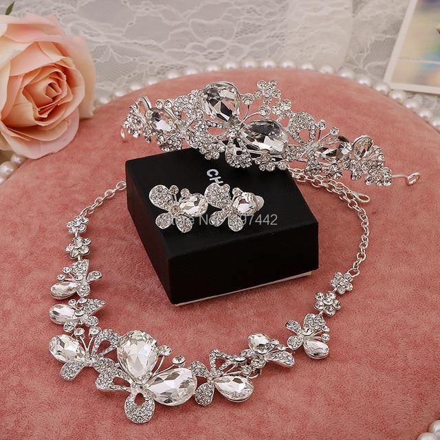 3 PCS Wedding necklace bridal headdress butterfly crystal necklace
