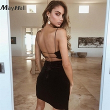 MayHall Sexy V Neck Open Back Dress Lace up Sarafan Female Summer Bandage Party Dresses Velvet vestidos verano 2018 MH288 недорого