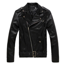 2017 Autumn Men Leather Jacket Fashion PU Male White Leather Motorcycle Jacket Coats Mens Brand Clothing Coat Black Brown M-3XL
