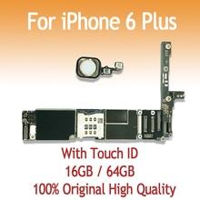 16 ГБ, 64 ГБ, оригинальная материнская плата для iPhone 6 Plus, 5,5 дюймов, с отпечатком пальца, с сенсорным ID, разблокировка, логическая плата iOS