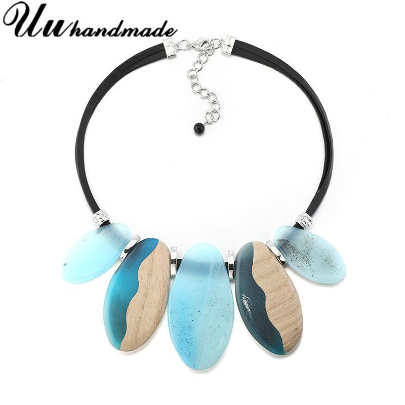 Fashion Acrylic Wood Necklaces women Exaggerated Leather Chain Drops Necklace Pendant Personality Jewelry 2018 New Accessories