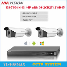 Outdoor DS-2CD2T42WD-I5 English Version 4MP POE IP Camera IR 50m with DS-7604NI-E1/4P Network Video Recorder CCTV System kit