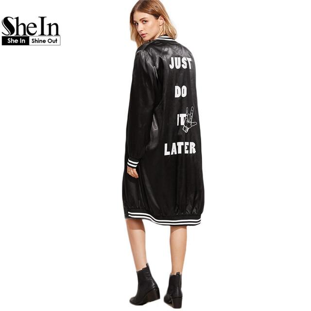 SheIn Preto Jaqueta de Inverno Longo Casaco Mulheres Casacos Básicos Mulheres Slogan Carta Impressão Listrado Guarnição de Cetim Casaco Bomber