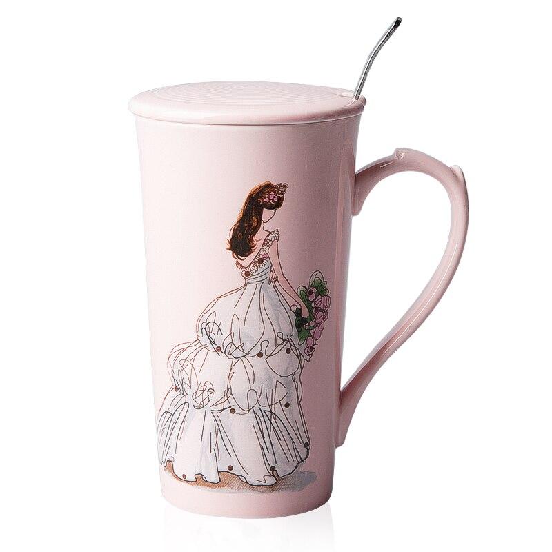 Super 400ml Creative Pink Coffee Mugs Delicate Beautiful Girl Coffee Cup  OB96