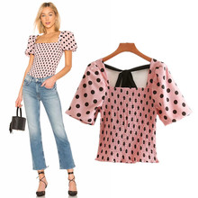 pink dot women sexy crop tops bow tie elastic pleated shirts short style puff sleeve blouse female streetwear chic tops blusas 2018 summer blouse women shirts v neck polka dot crop tops lace up short sleeve pleated shirt vintage female casual chic blusas