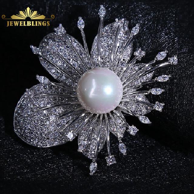 Abstrato tom de prata micro pave cz explosão pistilo floral broche mãe do  pérola centro do vintage branco floral broche para o casamento
