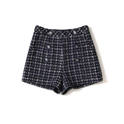 Handmade Luxury Shorts for Women Fashion Vintage Woven Tweed Double Breasted High Waist  Shorts Blue