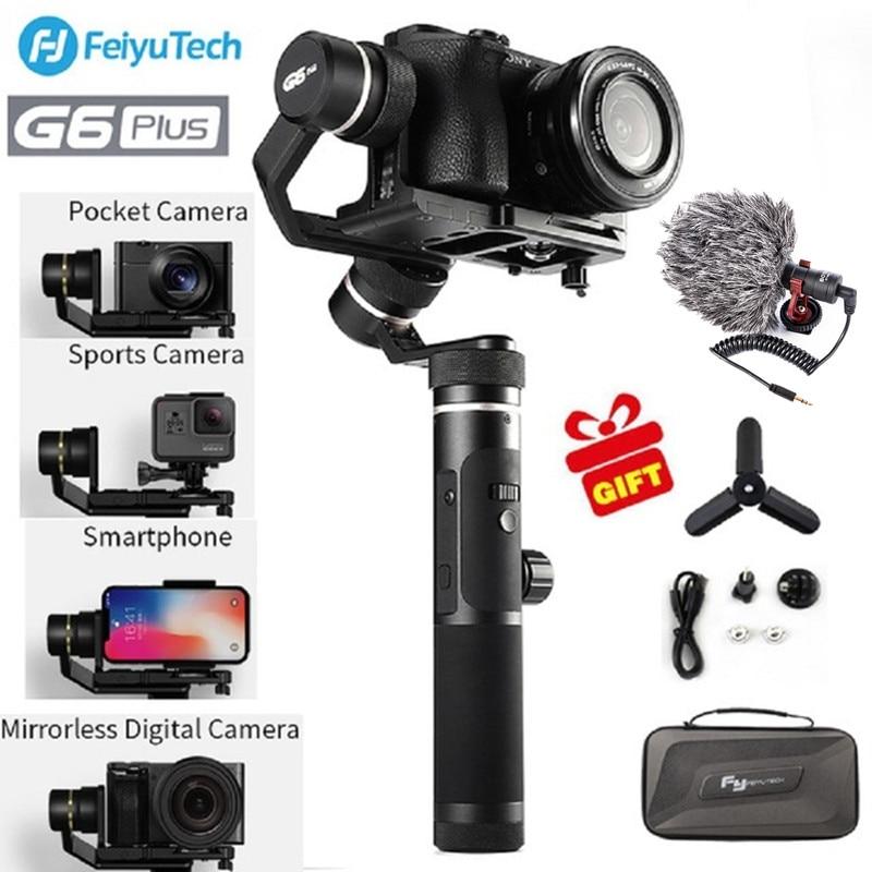 Feiyutech G6 Plus stabilisateur de cardan à main sans balai 3 axes stabilisant Selfie pour Gopro hero Sony RX100/Sony a6300 iPhone X