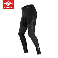 Santic Winter Men Cycling Pants Long Bike Anti-sweat Keep Warm Breathable Pockets Bicycle Trousers For