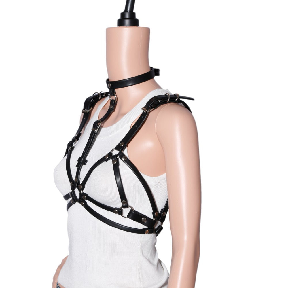 Harajuku Leather Harness Sexy Chest Sculpting Body Waist -4702