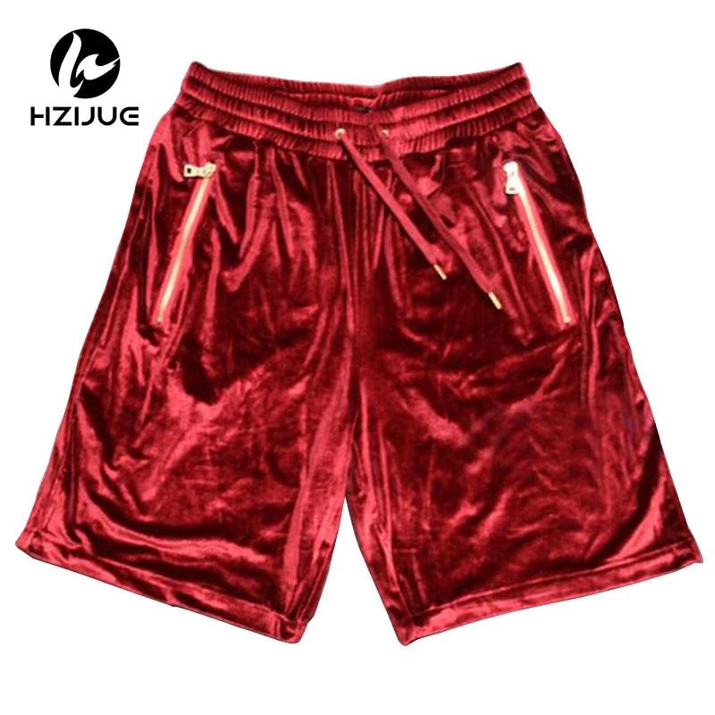 Fashion Hi-Street Men's Shorts Velour Hip Hop Shorts Golden Zipper Velvet Jogger Streetwear Elastic Waist Casual Shorts For Male