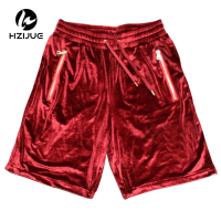 Fashion Hi Street Men's Shorts Velour Hip Hop Shorts Golden Zipper Velvet Jogger Streetwear Elastic Waist Casual Shorts for Male