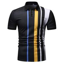 Casual Polo collar Shirt for Men's Clothing New Arrival Navy Black Stripe Men Polo Shirt Short sleeve Business Camisa masculina недорого
