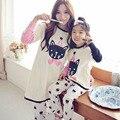 Familia familia de dibujos animados de ropa pijamas Set madre / madre e hija ropa ropa familiar Set bebé Girls Pajamas establece CN12